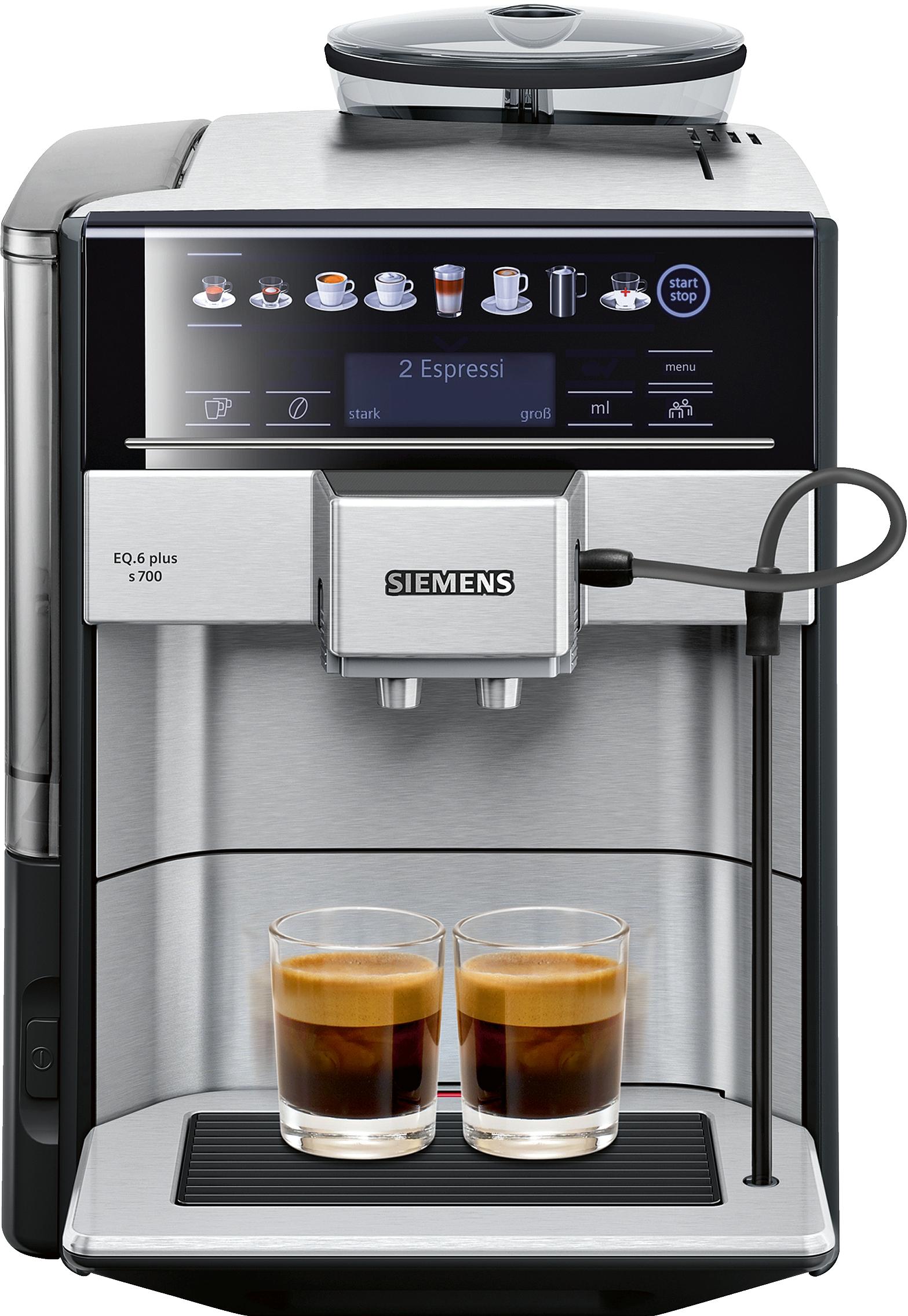 siemens te657503de kaffeevollautomat eq 6 plus s700 edelstahl espresso kaffee vollautomaten. Black Bedroom Furniture Sets. Home Design Ideas