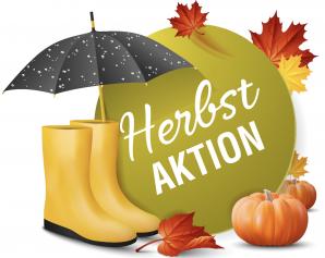Herbstaktion wenn die Blätter fallen  nur solange Vorrat